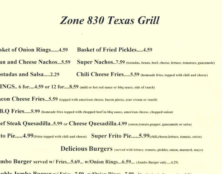Zone 830 Texas Grill